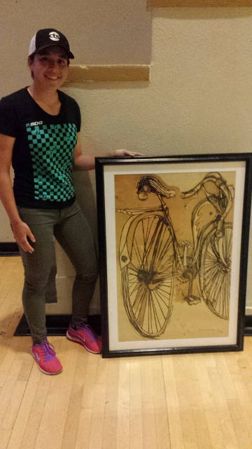 Amanda Nauman with the 1936 Schwinn