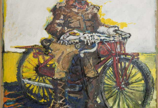 "Roy Wise and his Indian Motorcycle Acrylic/Canvas - 30""x30"" - 1985"